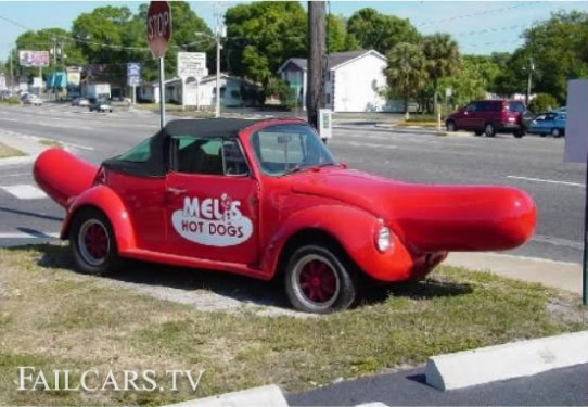 Hot Dog Weiner Beetle Fail Car